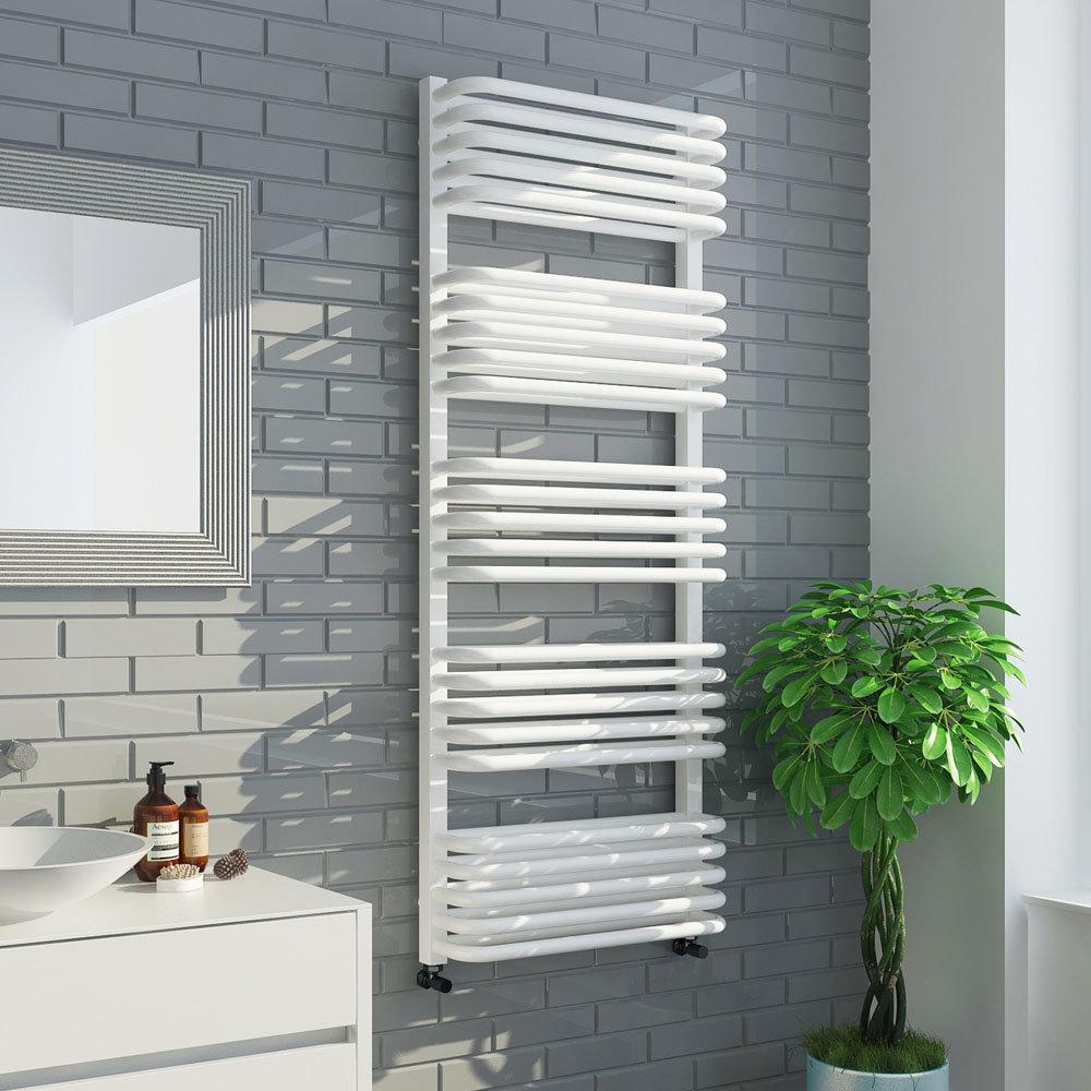Monza 500 x 1269 White Designer D-Shaped Heated Towel Rail