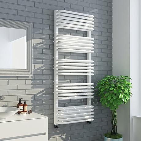 Monza 1269 x 500 White Designer D-Shaped Heated Towel Rail