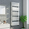 Monza 1269 x 500 White Designer D-Shaped Heated Towel Rail profile small image view 1