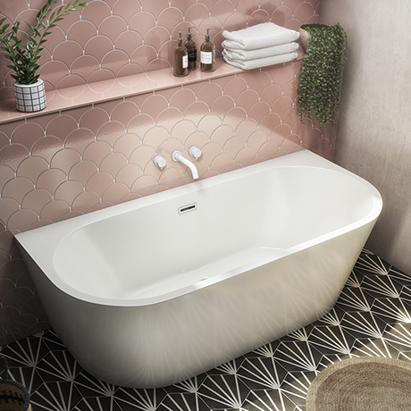 Monza 1700 x 800 Double Ended Free Standing Back To Wall Bath