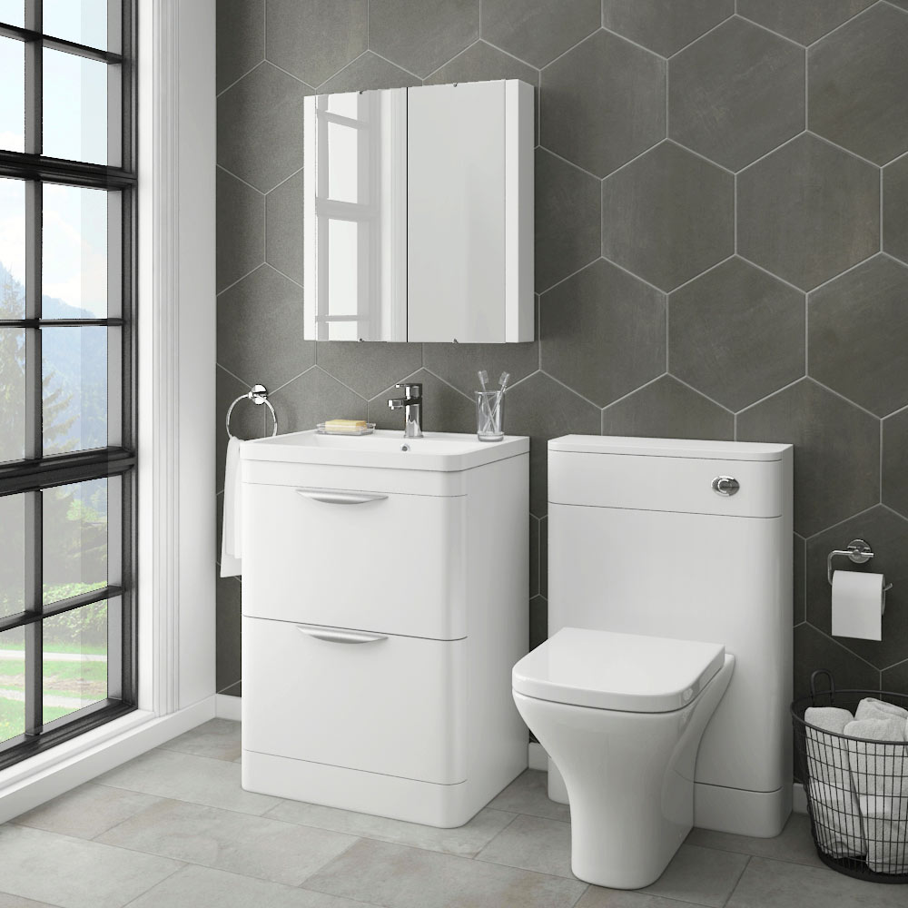 Monza Modern White Sink Vanity Unit + Toilet Package  Victorian Plumbing UK