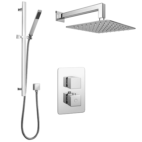 Monza Modern Shower Package (Fixed Shower Head + Riser Rail Kit)