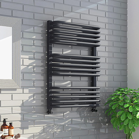 Monza 736 x 500 Anthracite Designer D-Shaped Heated Towel Rail