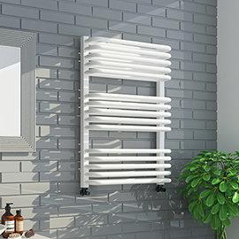 Monza 500 x 736 White Designer D-Shaped Heated Towel Rail