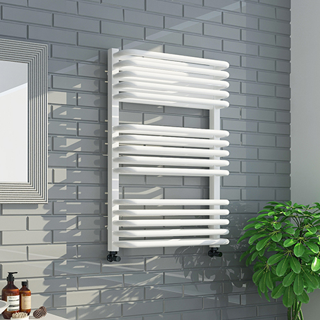 Monza 736 x 500 White Designer D-Shaped Heated Towel Rail