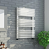 Monza 736 x 500 White Designer D-Shaped Heated Towel Rail profile small image view 1