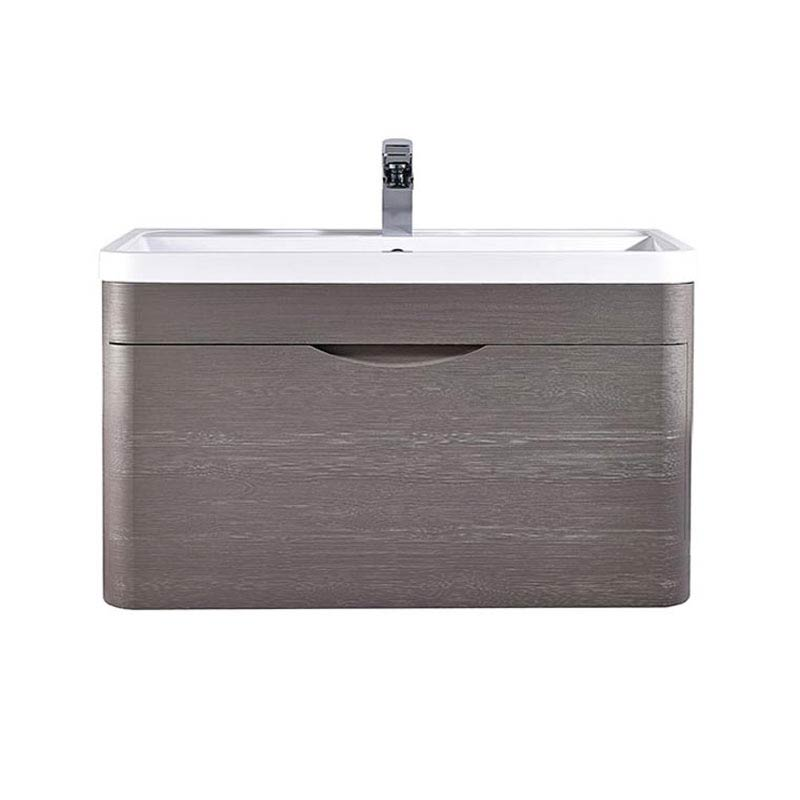 Monza 800mm Wall Hung 1 Drawer Vanity Unit (Stone Grey Woodgrain - Depth 450mm) profile large image view 2