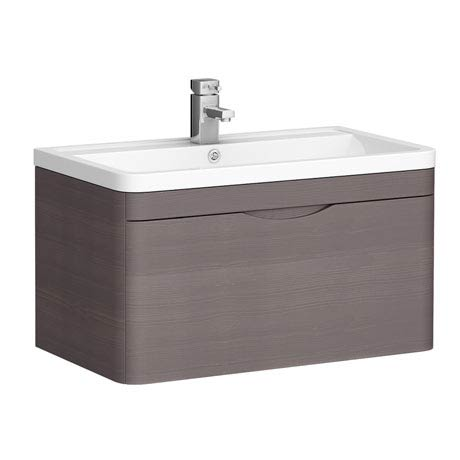 Monza 800mm Wall Hung 1 Drawer Vanity Unit (Stone Grey Woodgrain - Depth 450mm)