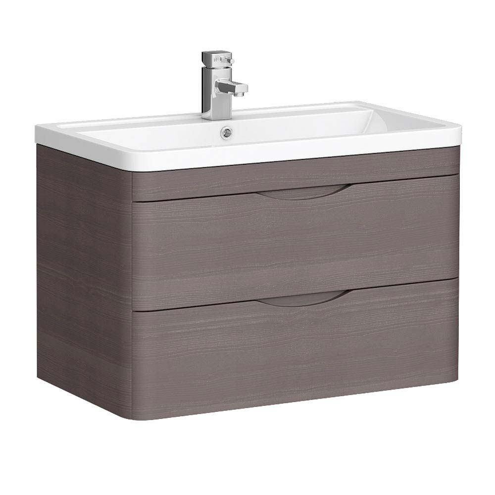 Monza 800mm Wall Hung 2 Drawer Vanity Unit (Stone Grey Woodgrain - Depth 450mm)