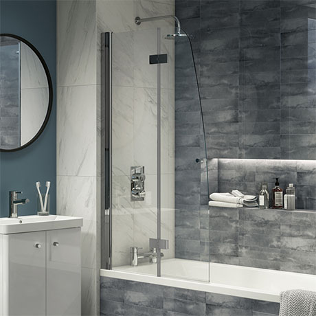 Monza 900 x 1400 Chrome 6mm Hinged Sail Bath Screen with Fixed Side Panel