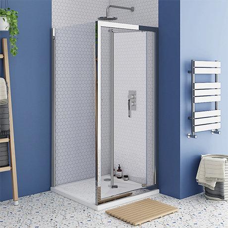 Monza 800 x 800mm Bi-Fold Door Shower Enclosure + Pearlstone Tray