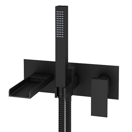 Monza Matt Black Wall Mounted Bath Shower Mixer Tap + Shower Kit