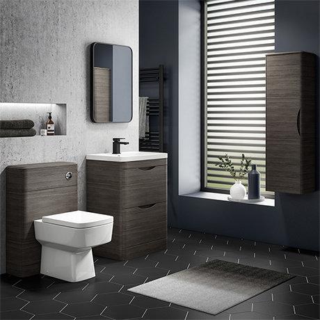 Monza Grey Avola Floor Standing Vanity Bathroom Furniture Package