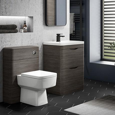 Monza Grey Avola Floor Standing Sink Vanity Unit + Square Toilet Package