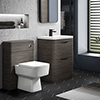 Monza Grey Avola Floor Standing Sink Vanity Unit + Square Toilet Package profile small image view 1