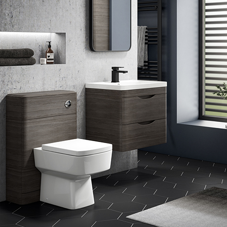 Monza Grey Avola Wall Hung Sink Vanity Unit + Square Toilet Package