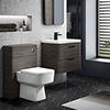 Monza Grey Avola Wall Hung Sink Vanity Unit + Square Toilet Package profile small image view 1
