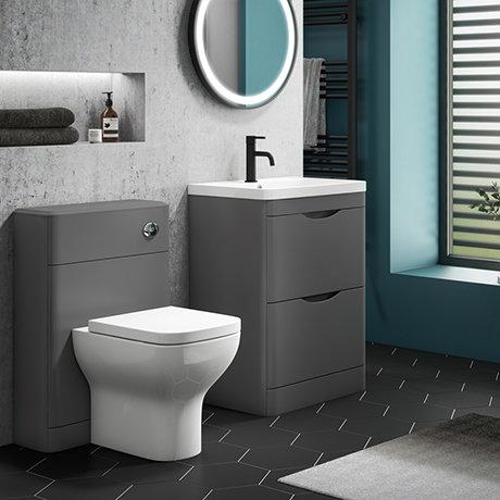 Monza Grey Floor Standing Sink Vanity Unit + Toilet Package