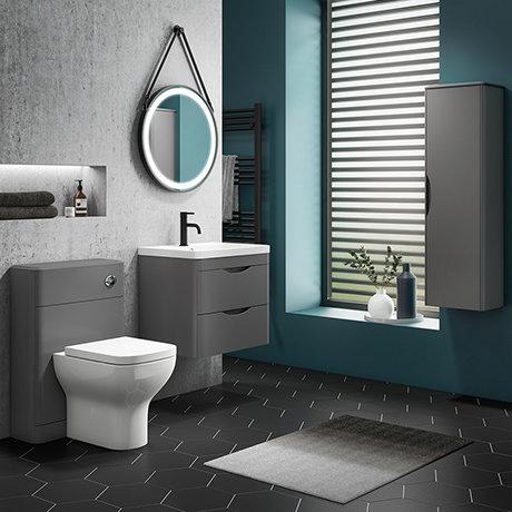 Monza Grey Wall Hung Vanity Bathroom Furniture Package