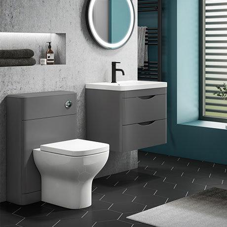 Monza Grey Wall Hung Sink Vanity Unit + Toilet Package