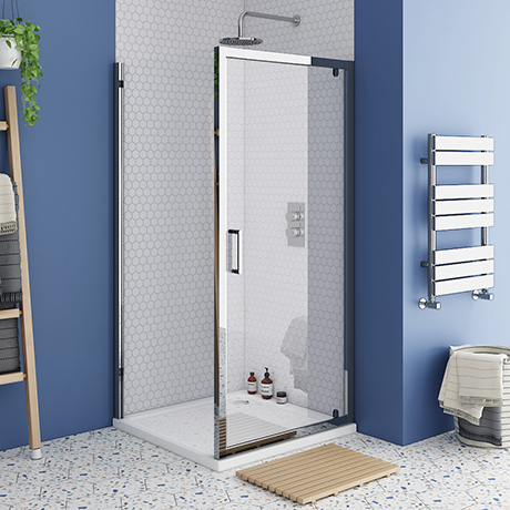 Monza 800 x 800mm Pivot Door Shower Enclosure without Tray