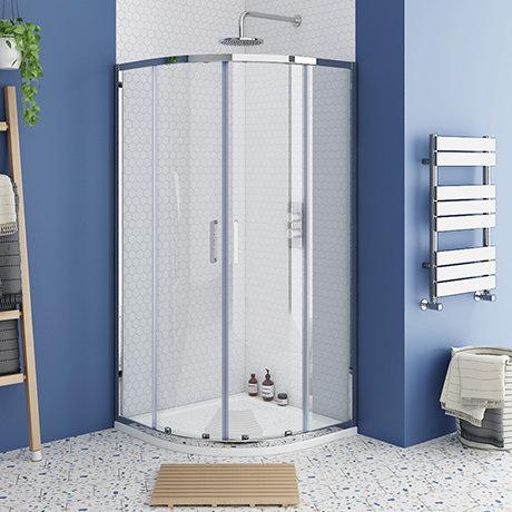 Monza 900 x 900mm Quadrant Shower Enclosure + Pearlstone Tray