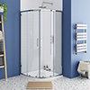 Monza 900 x 900mm Quadrant Shower Enclosure + Pearlstone Tray profile small image view 1