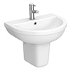 Monza Round Basin + Semi Pedestal (550mm Wide - 1 Tap Hole) profile small image view 1