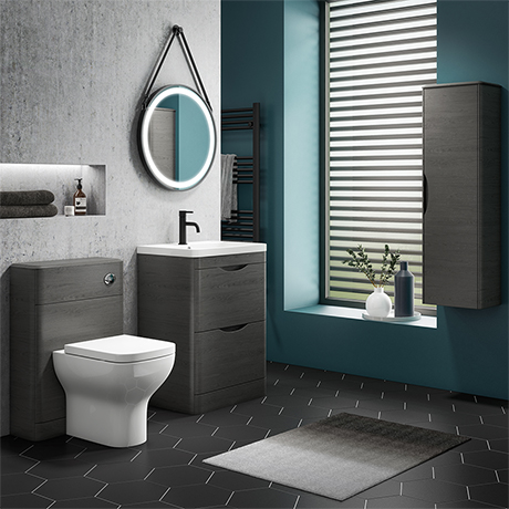 Monza Stone Grey Floor Standing Vanity Bathroom Furniture Package