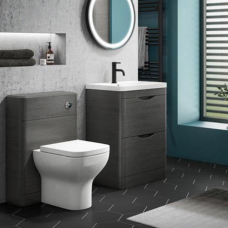 Monza Stone Grey Floor Standing Sink Vanity Unit + Toilet Package