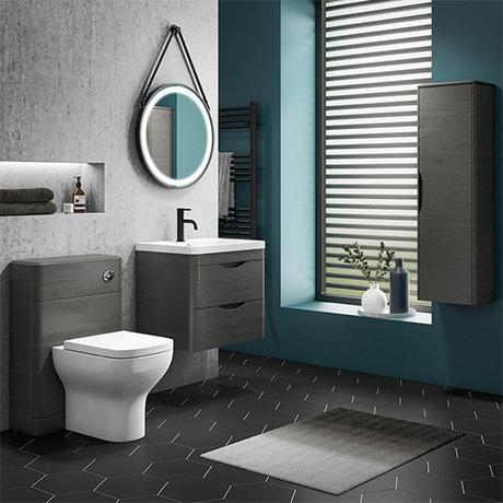 Monza Stone Grey Wall Hung Vanity Bathroom Furniture Package