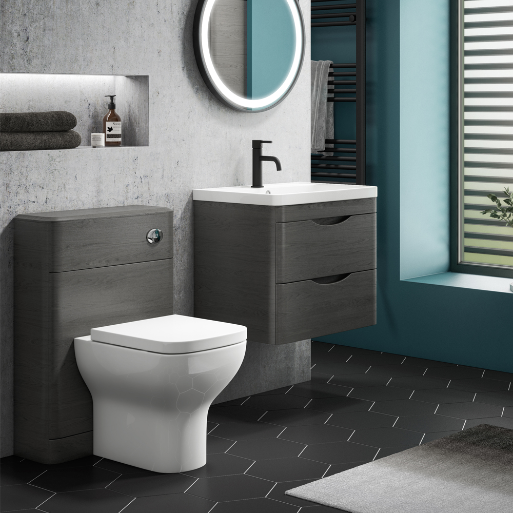 Monza Stone Grey Wall Hung Sink Vanity Unit + Toilet Package