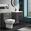 Monza Stone Grey Wall Hung Sink Vanity Unit + Toilet Package profile small image view 1