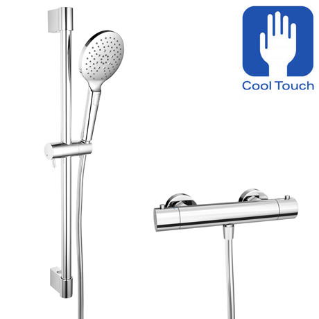 Monza Cool Touch Thermostatic Bar Valve with Adjustable Slider Rail Kit