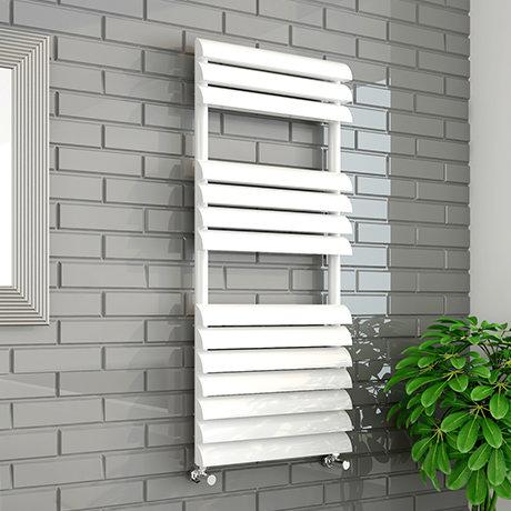 Monza 500 x 1100mm Venetian Style White Designer Towel Rail