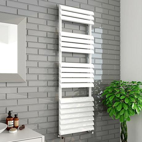 Monza 500 x 1500mm Venetian Style White Designer Towel Rail