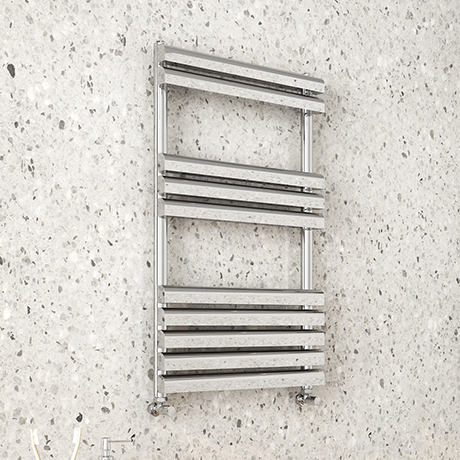 Monza 826 x 500 Polished Stainless Steel Venetian Style Towel Rail