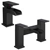 Monza Matt Black Waterfall Tap Package (Bath + Basin Tap) profile small image view 1