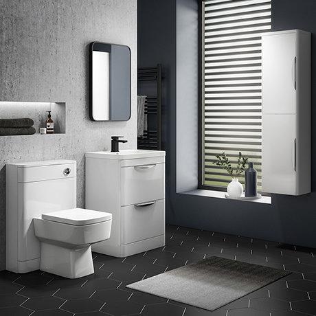 Monza Gloss White Floor Standing Vanity Bathroom Furniture Package
