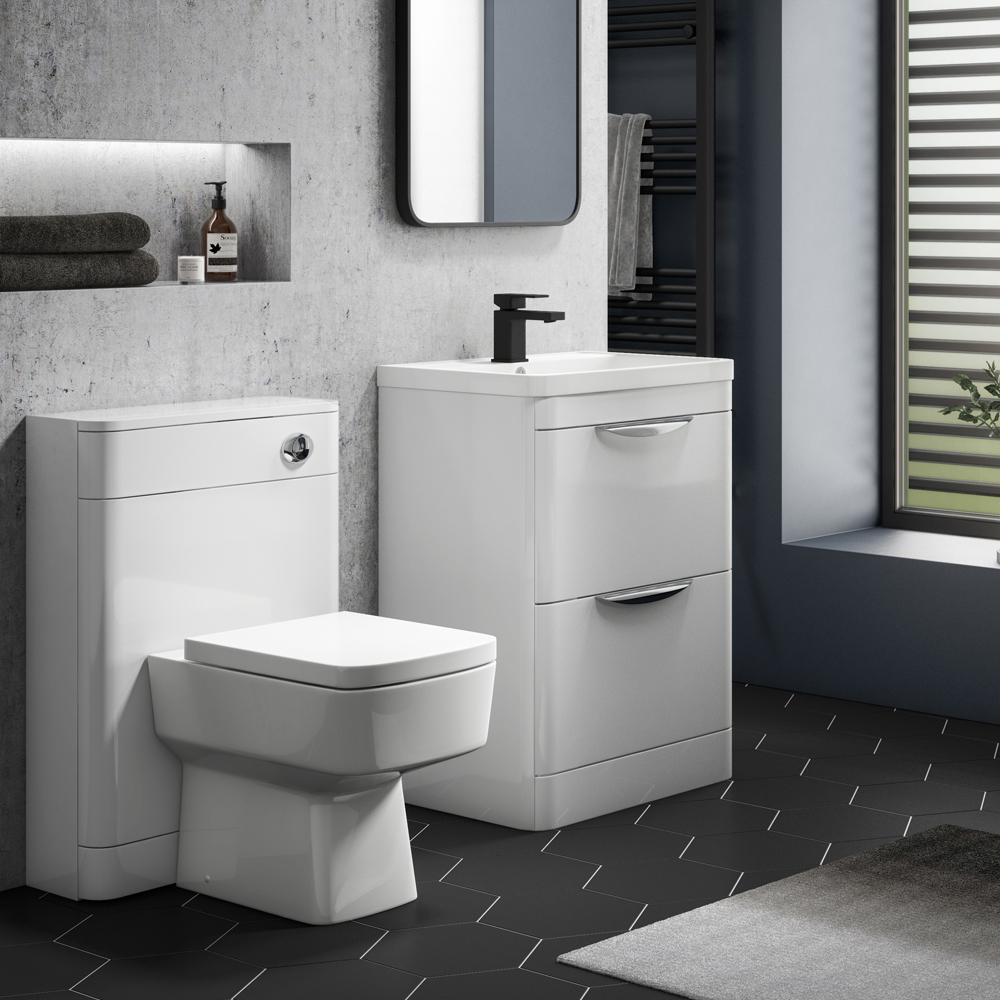 Monza Gloss White Floor Standing Sink Vanity Unit + Square Toilet Package