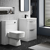 Monza Gloss White Floor Standing Sink Vanity Unit + Square Toilet Package profile small image view 1
