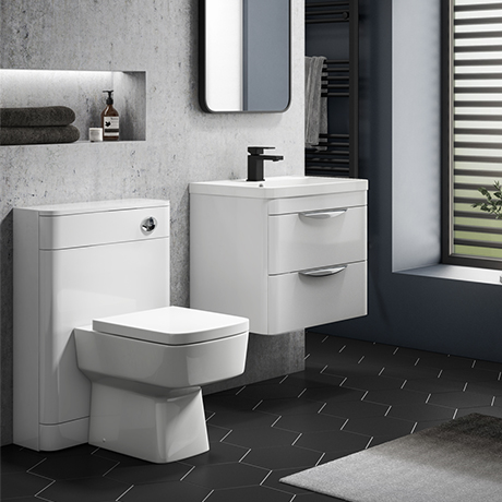 Monza Gloss White Wall Hung Sink Vanity Unit + Square Toilet Package