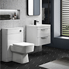 Monza Gloss White Wall Hung Sink Vanity Unit + Square Toilet Package profile small image view 1