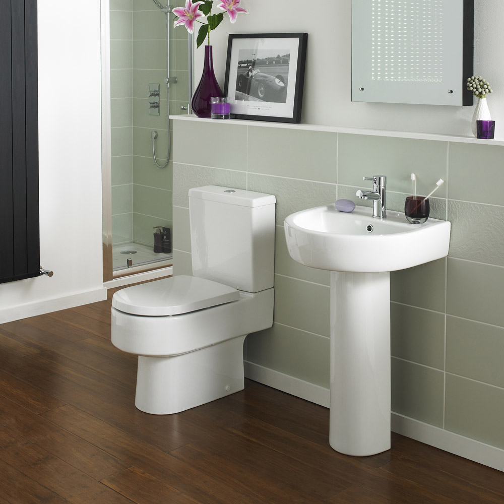 Marino Close Coupled Modern Toilet with Soft-Close Seat profile large image view 3