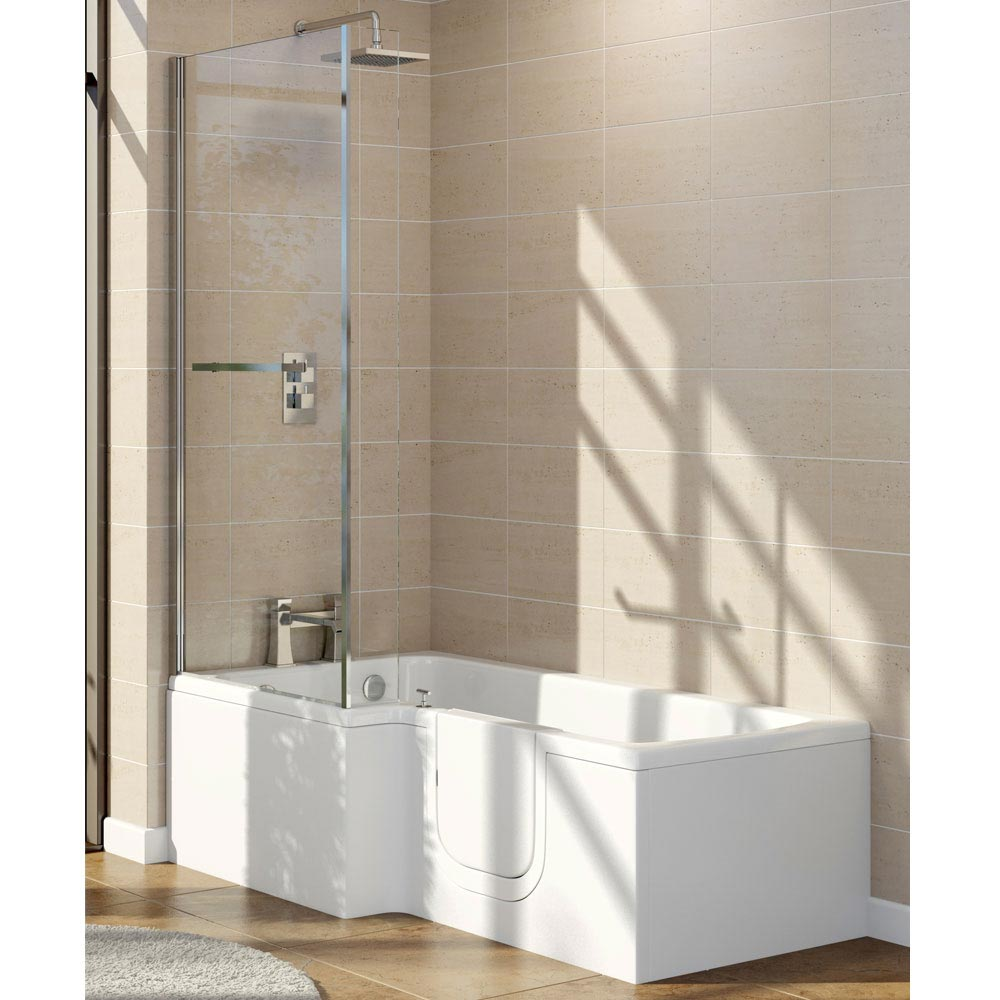 Marsden Easy Access 1700mm L Shaped Bath Inc. Screen + Panel Large Image