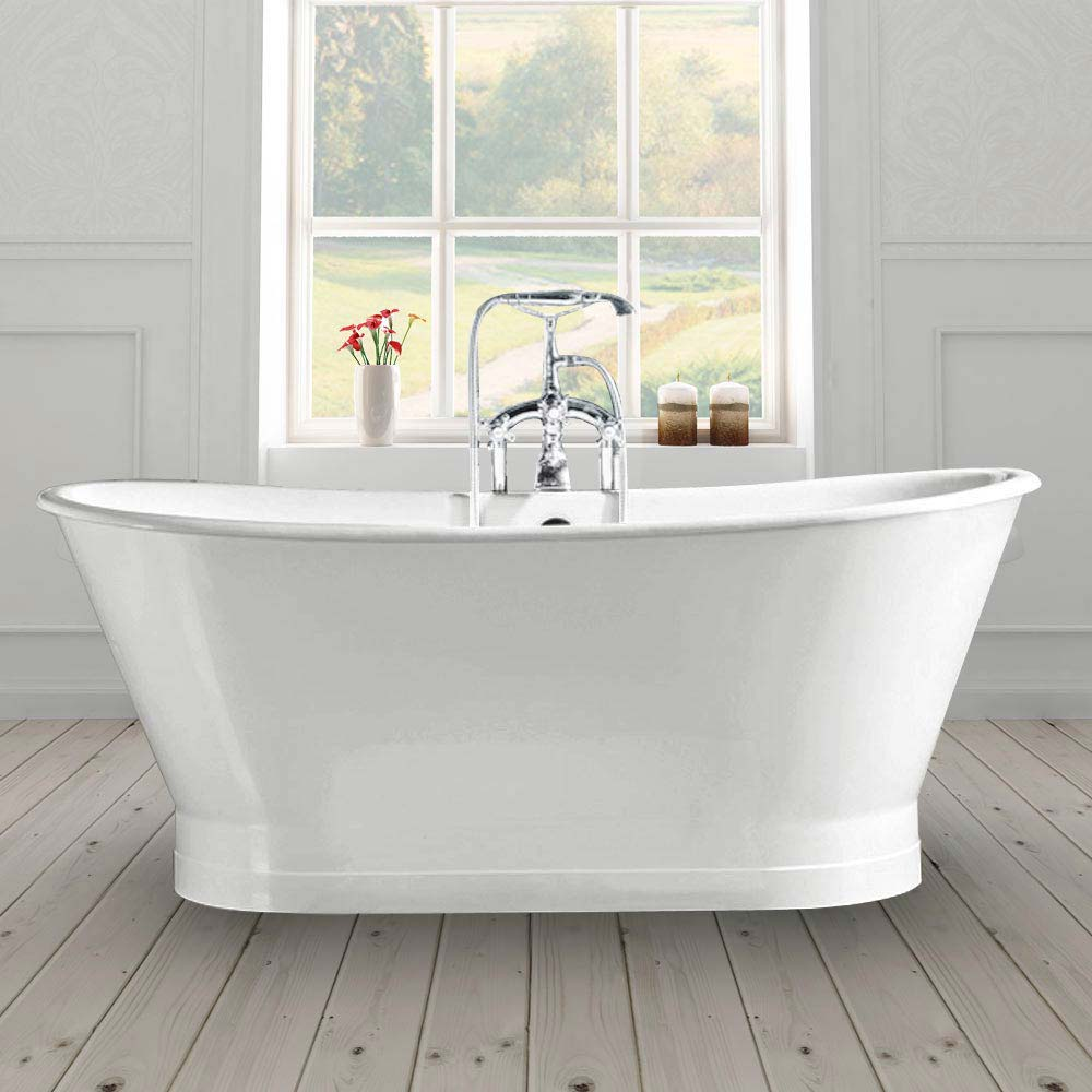 Marseille 1700 x 670mm Roll Top Cast Iron Bateau Bath Large Image