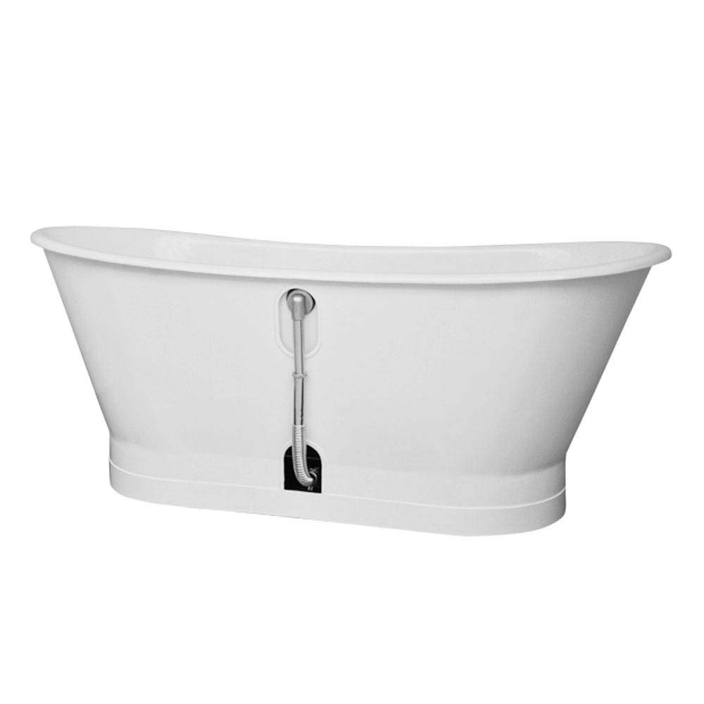 Marseille 1700 x 670mm Roll Top Cast Iron Bateau Bath profile large image view 4