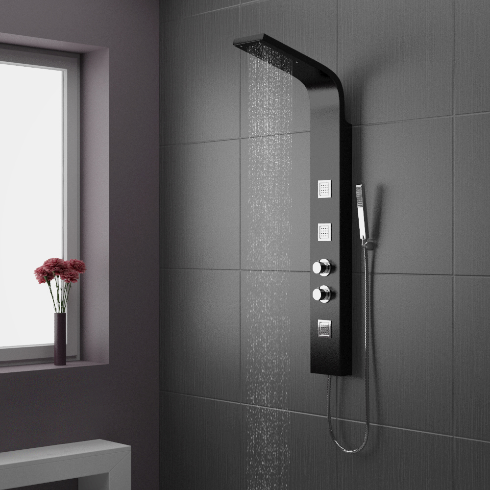 Maverick Thermostatic Shower Panel Black Victorian