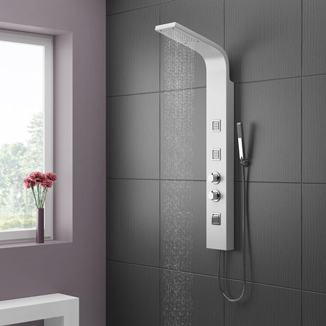 Maverick Tower Shower Panel (Thermostatic) - White