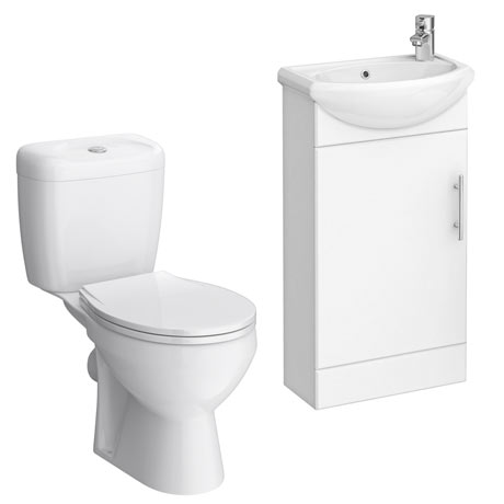 Melbourne Close Coupled Toilet with 420mm Cabinet + Basin Set